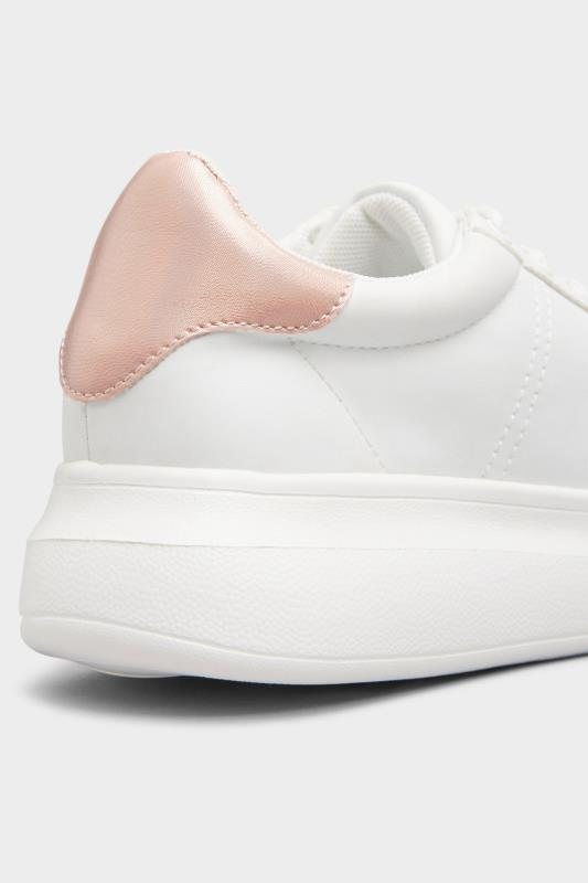 LIMITED COLLECTION White & Pink Vegan Leather Platform Trainers In Wide Fit_D.jpg