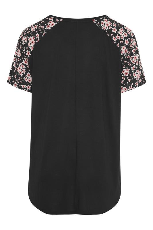 Black Raglan Floral Sleeve T-Shirt_BK.jpg