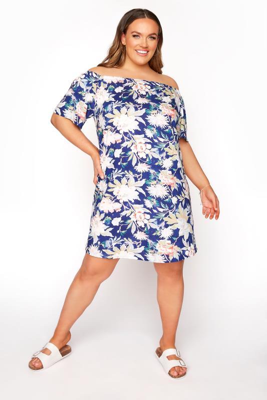 Plus Size  Dark Blue Floral Gypsy Tunic