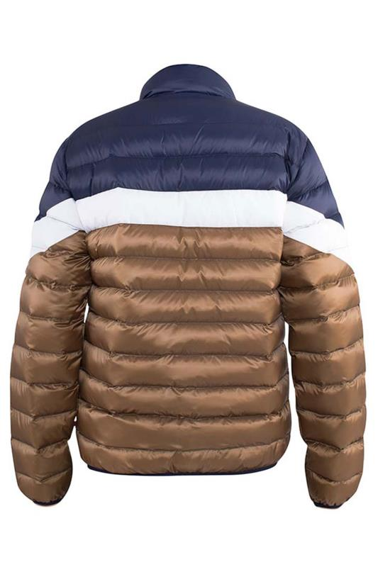 D555 Navy Colour Block Puffer Jacket