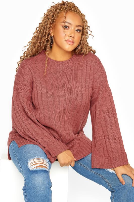 Plus Size  Pink Ribbed Wide Sleeve Knitted Jumper