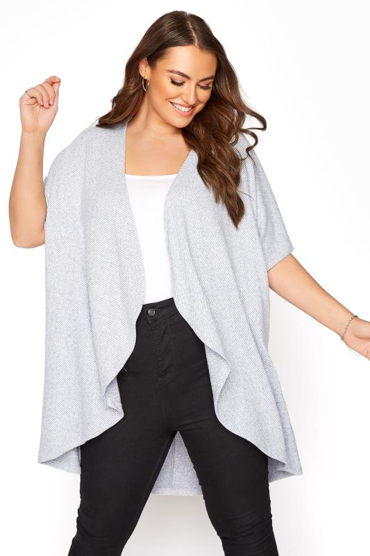 Plus Size  Grey Waterfall Cardigan