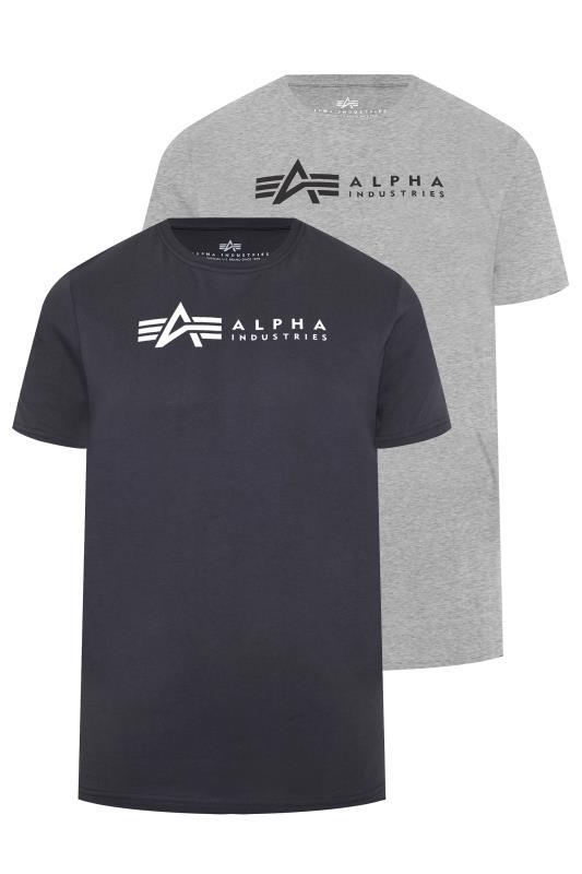 Großen Größen  ALPHA INDUSTRIES Multi 2 Pack Logo T-Shirts