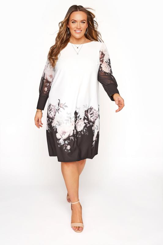 Plus Size  YOURS LONDON White Flower Chiffon Sleeve Dress