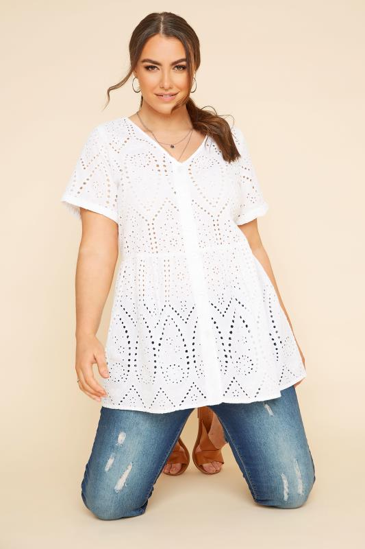 White Embroidered Lace Peplum Top