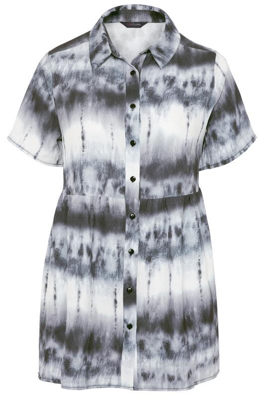Black & White Tie Dye Smock Shirt