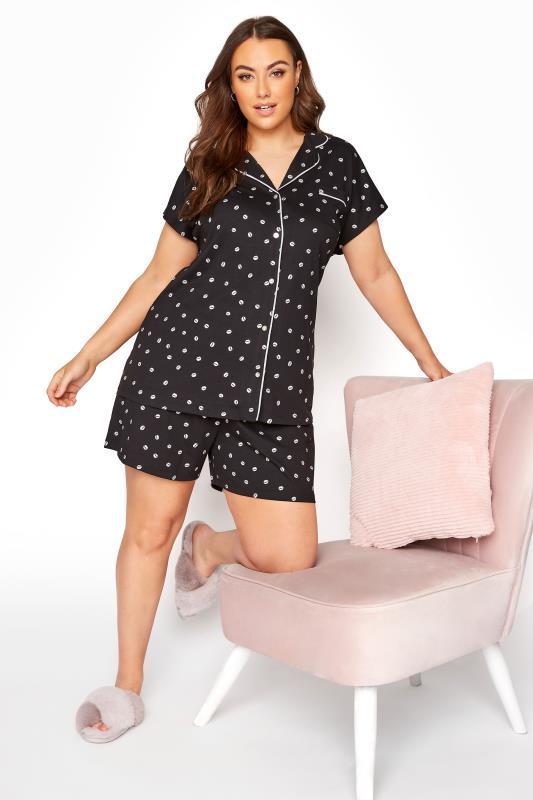 Schwarzes Pyjama Set mit Lippen Print