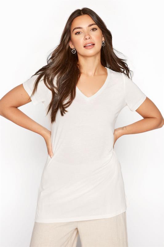 Tall  LTS Ecru Linen Blend V-Neck T-Shirt