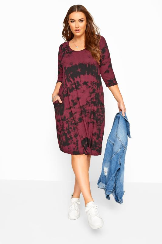Plus Size Swing Dresses Burgundy Tie Dye Drape Pocket Dress