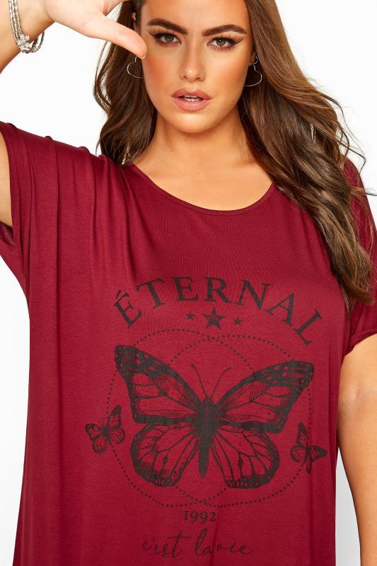 Red 'Eternal' Butterfly Print Top