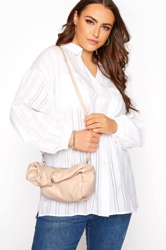 Nude Ruched Handle Bag