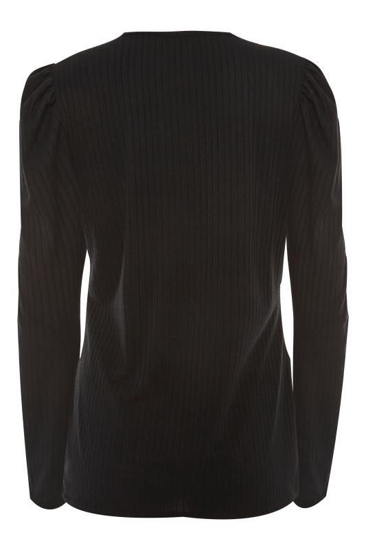 LTS Black Ribbed Puff Sleeve Top_BK.jpg