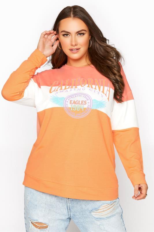 Orange Colour Block 'California' Slogan Sweatshirt_A.jpg