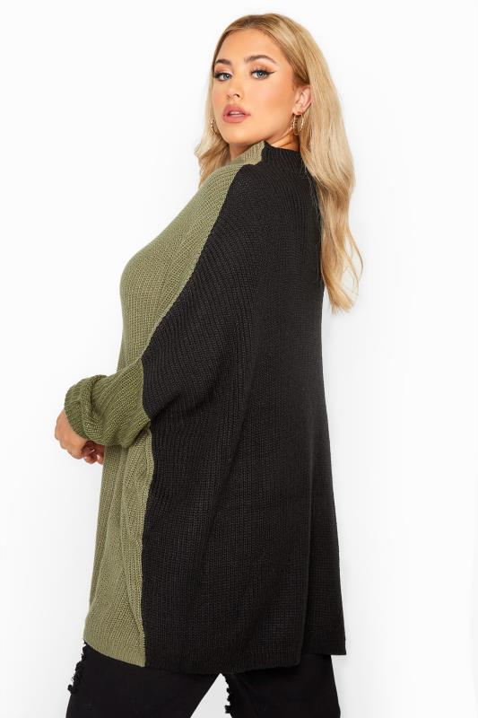 Khaki Colour Block Oversized Knitted Jumper
