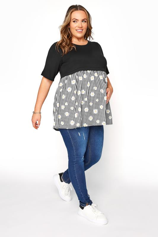 BUMP IT UP MATERNITY Black Gingham Floral Contrast Top_B.jpg