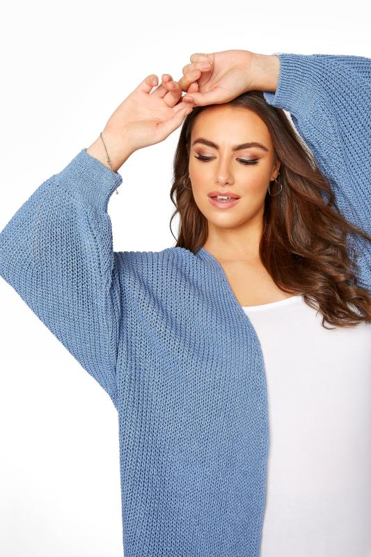 Pale Blue Oversized Balloon Sleeve Knitted Cardigan_D.jpg