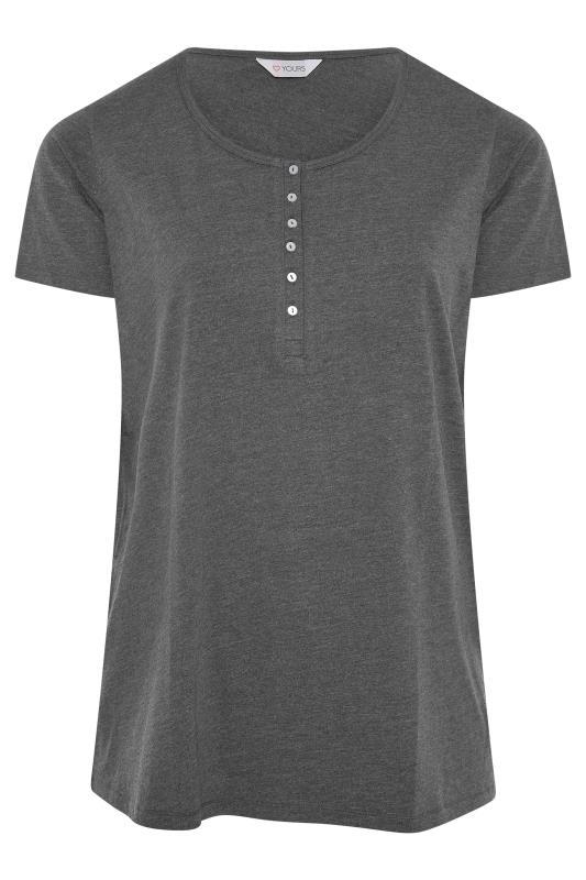 Charcoal Button Scoop Neck Pyjama Top_F.jpg