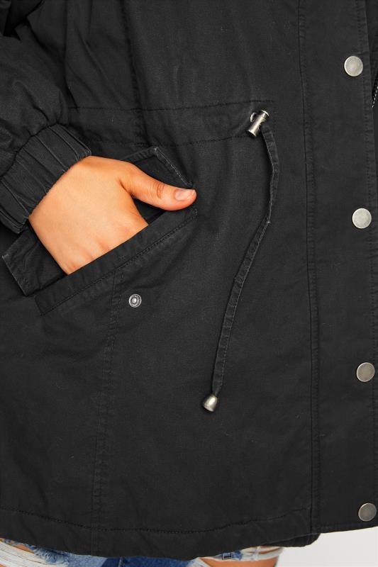 Black Balloon Sleeve Faux Fur Trim Parka_E.jpg