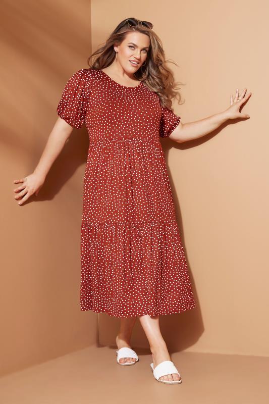 Rust Spot Print Puff Sleeve Midaxi Dress_L1.jpg