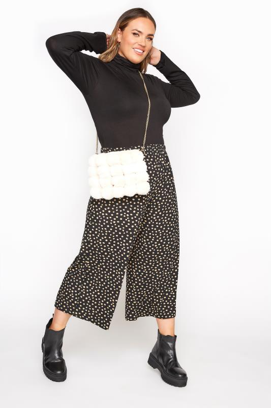 Plus Size  LIMITED COLLECTION Black & Brown Polka Dot Culottes