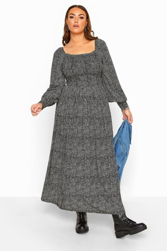 Black Spotted Shirred Maxi Dress
