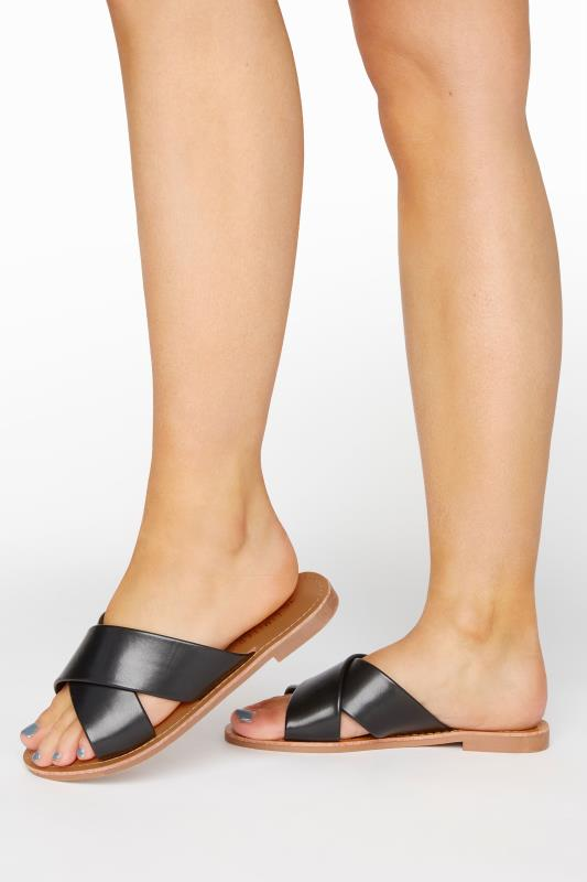 Yours LIMITED COLLECTION Black Cross Strap Mules In Extra Wide Fit