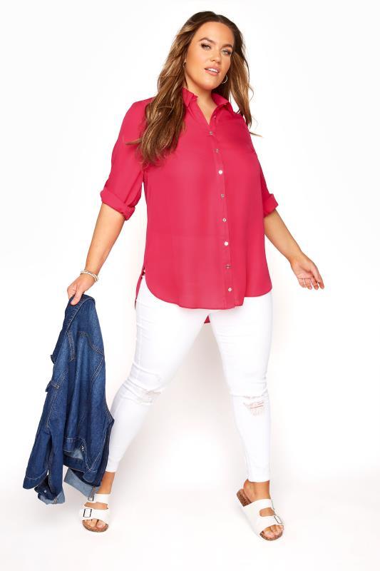Bright Pink Longline Shirt