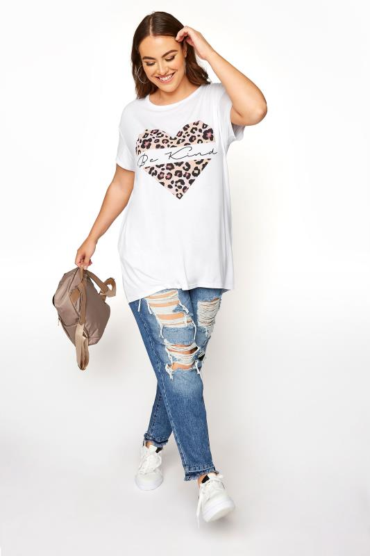 LIMITED COLLECTION White 'Be Kind' Leopard Heart T-Shirt_B.jpg