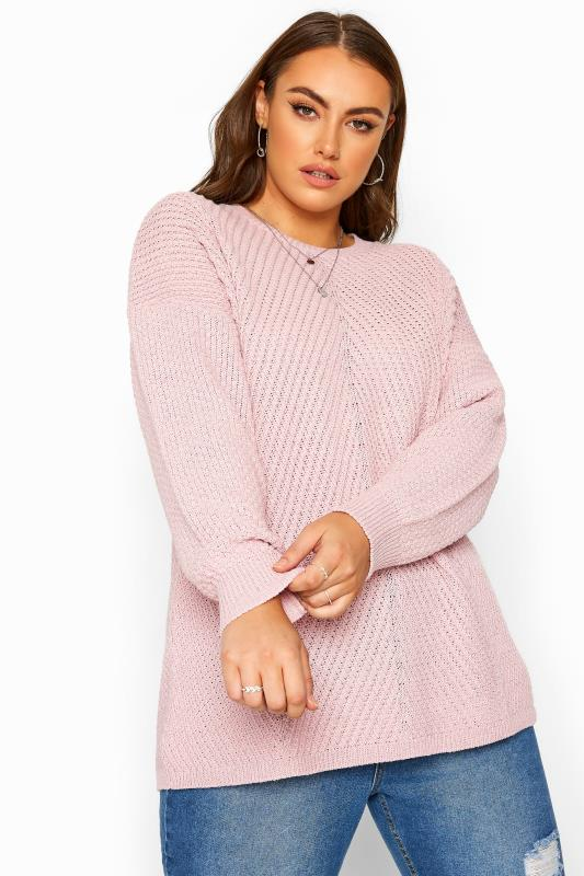 Plus Size Knitted Tops & Jumpers Pink Textured Chunky Knitted Jumper