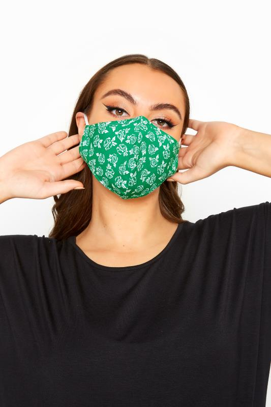 Plus Size  Green Floral Antibacterial Face Mask