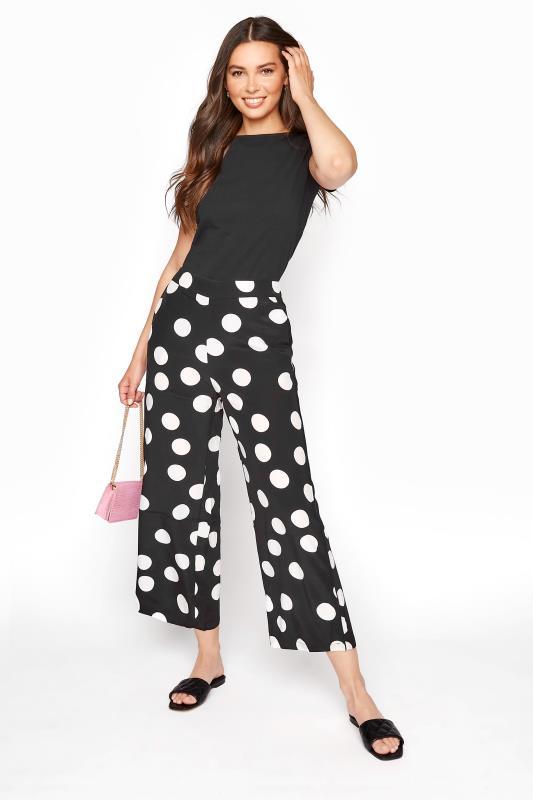 Tall Culottes Black & White Polka Dot Print Culottes