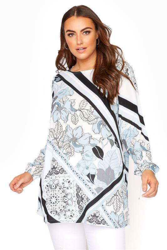 YOURS LONDON Blue Scarf Print Blouse