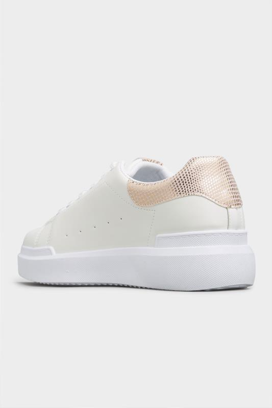LIMITED COLLECTION White and Rose Gold Flatform Trainer In Wide Fit_D.jpg