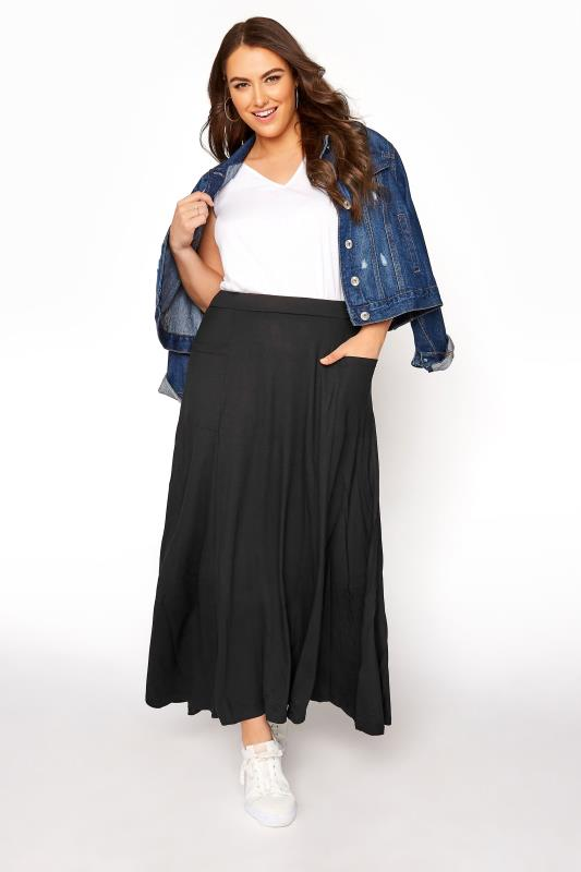 Plus Size Maxi Skirts Black Maxi Jersey Skirt