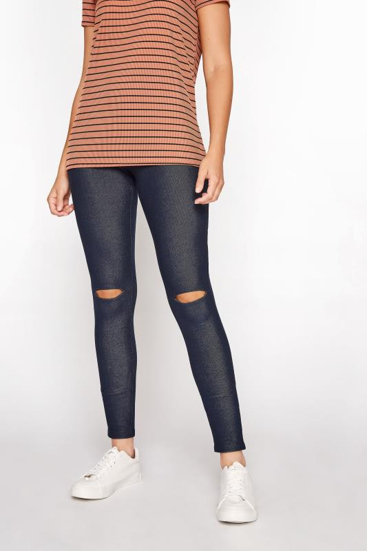 LTS Navy Ripped Knee Jersey Jeggings