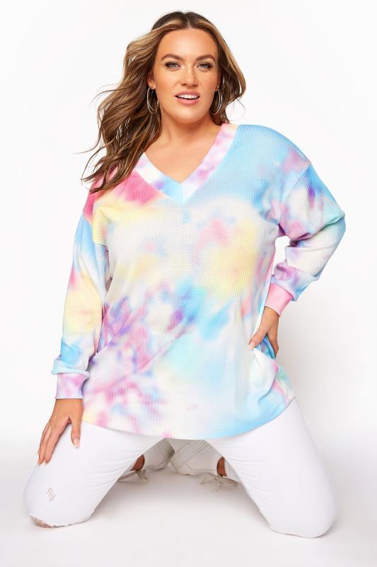 Plus Size  Multicoloured Tie Dye V-Neck Sweatshirt