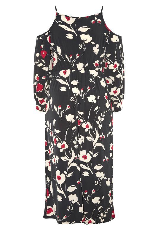 Black Floral Print Cold Shoulder Midaxi Dress_BK.jpg