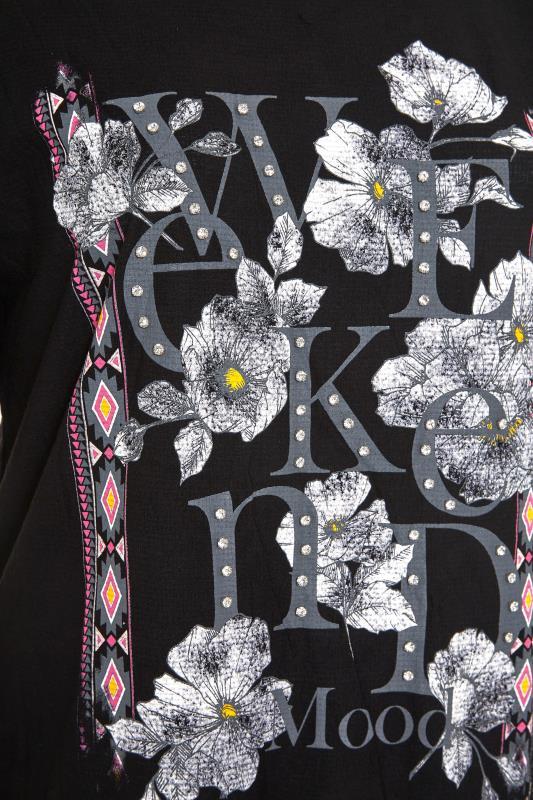 Black 'Weekend Mood' Slogan Fringe T-Shirt_S.jpg