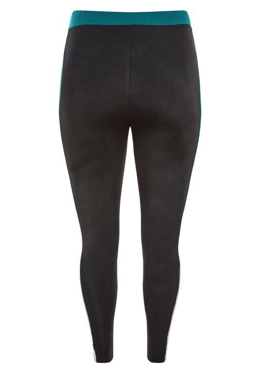 LIMITED COLLECTION Black & Teal Colour Block Leggings_BK.jpg