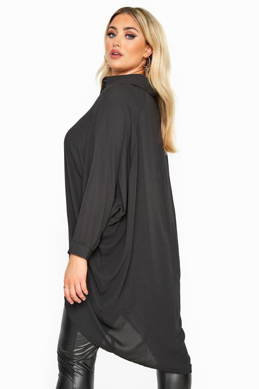 YOURS LONDON Black Oversized Dipped Hem Shirt