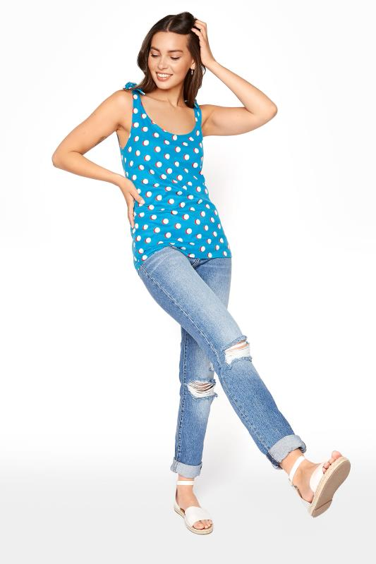 Blue Polka Dot Tie Shoulder Vest Top