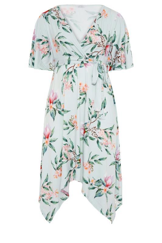 YOURS LONDON Mint Green Floral Wrap Hanky Hem Dress_F.jpg