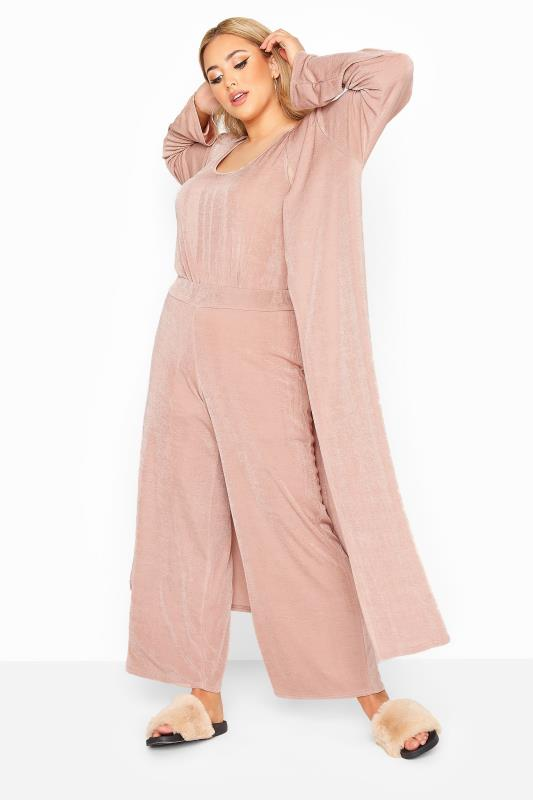 Plus Size  YOURS LONDON Light Pink Slinky Co-ord Wide Leg Trousers