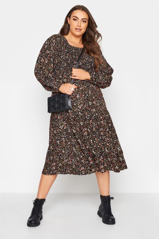 Black Floral Shirred Midaxi Dress_B.jpg