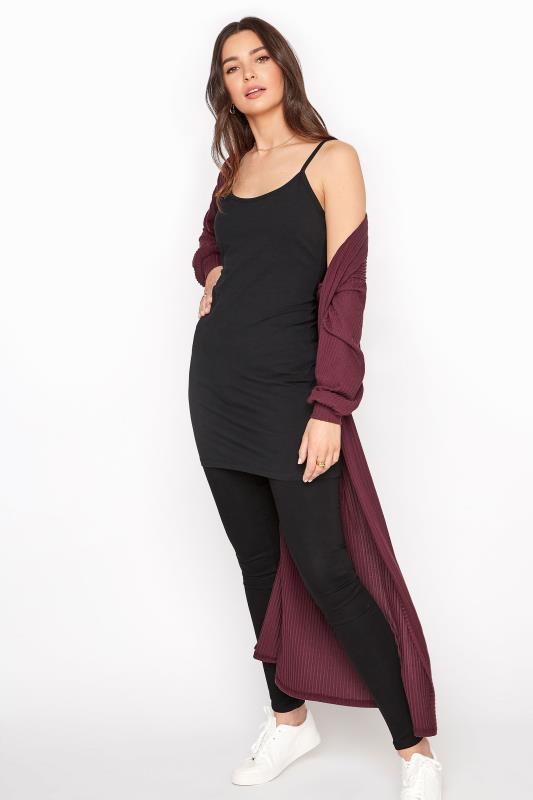 Black Cotton Longline Cami Vest Top