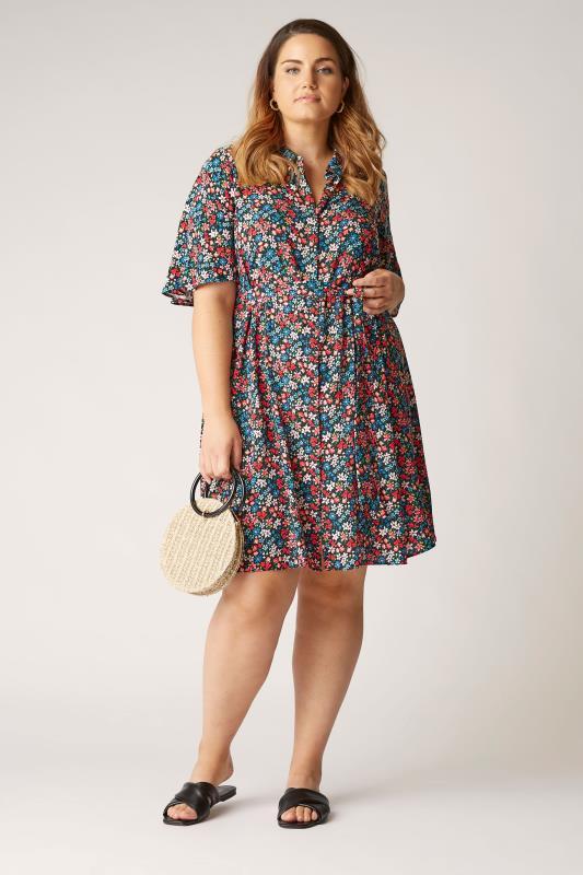 THE LIMITED EDIT Black Floral Print Shirt Mini Dress_B.jpg