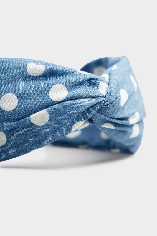 Blue Denim Polka Dot Twist Headband_D.jpg
