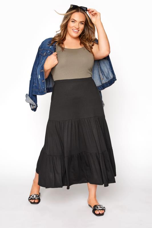 Plus Size  Black Jersey Tiered Maxi Skirt
