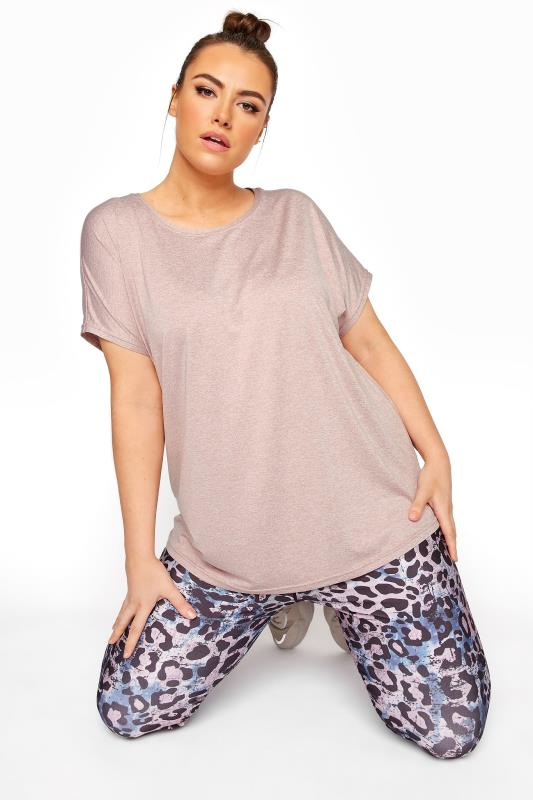 Plus Size  ACTIVE Pink Marl Dipped Hem Top