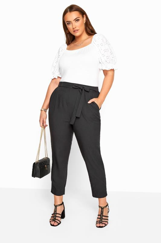 Black Crepe Tapered Trousers